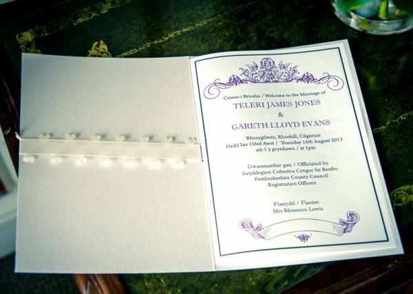 Inside Order of Service. Bilingual Welsh & English