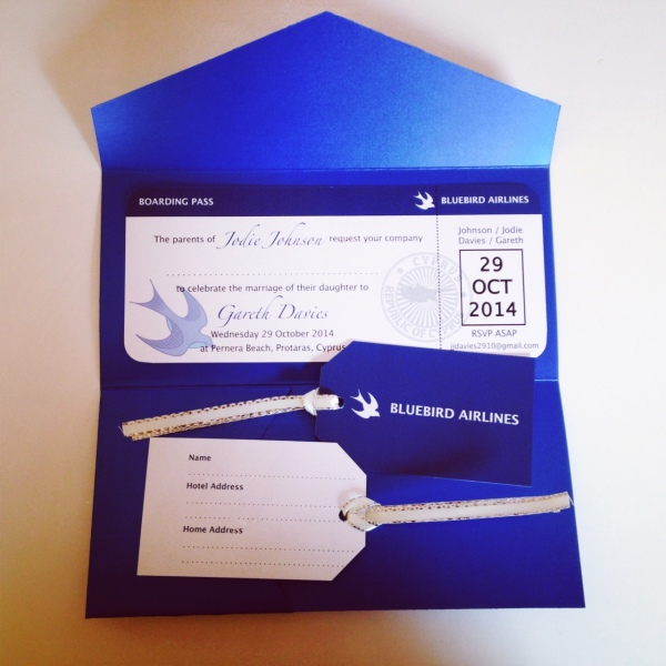 'Bluebird Airlines' Boarding Pass Style Wedding Invitation, designed by Teleri Evans, Manylion Bach | Little Details Design. April 2014.