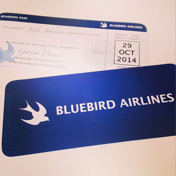 'Bluebird Airlines' Boarding Pass / Wedding Invitation. Printed by ISIS Printing Ltd, Taffs Well, Cardiff