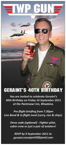 'Twp Gun' Themed Birthday Party Invite Front - Birthday boy Geraint in his flying suit, Photoshop-ed!