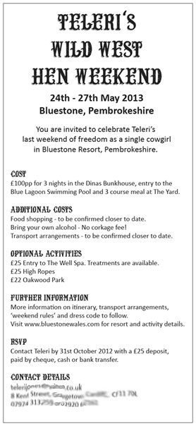 Wild West Hen Weekend Invitation Back