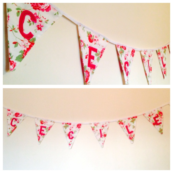 Girly flower bunting. Rose print fabric from IKEA, still available to buy.