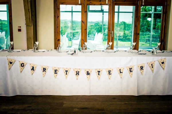 Grey, cream and pink spot wedding bunting