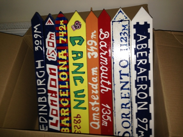 Painted wooden signs and ready for the garden