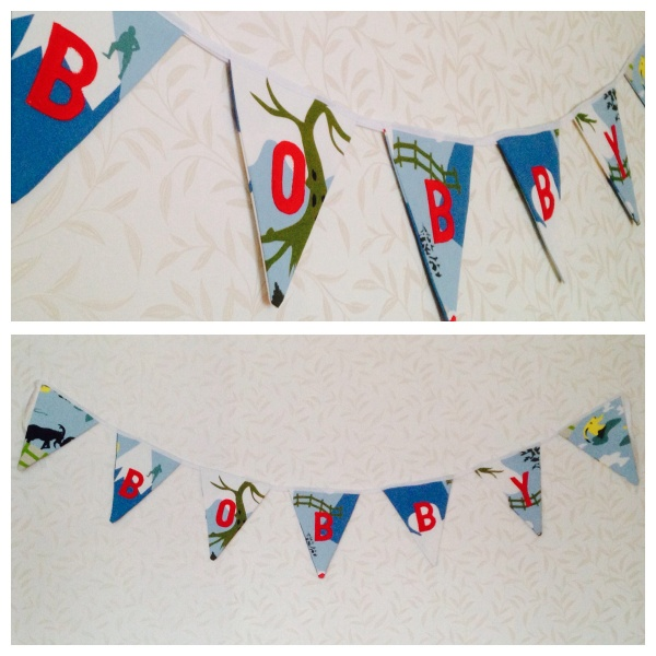 Adventure / Hiking themed bunting for a boy. Mountain scene fabric from IKEA, discontinued.
