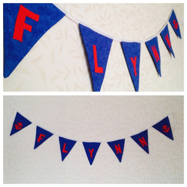 Red, blue and white nautical themed bunting