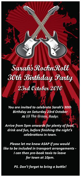 RocknRoll 30th Birthday Party Invitation