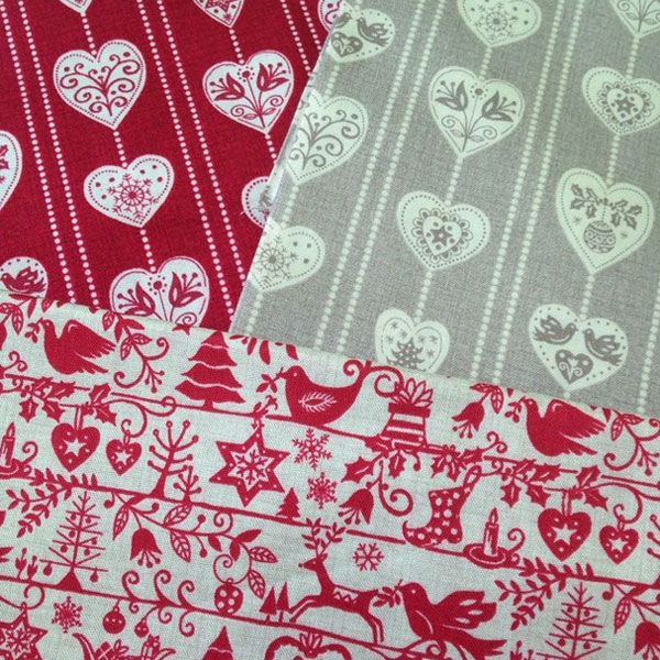 Makower Scandi Christmas themed fabric in red, cream and taupe