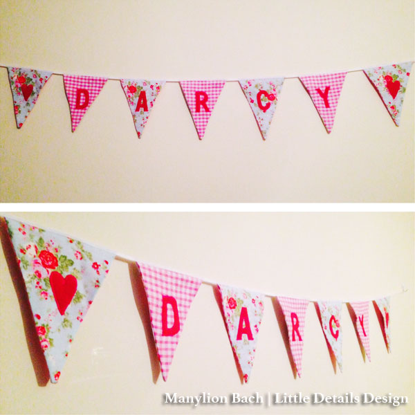 Rose and Pink Gingham Darcy Bunting for Darcy