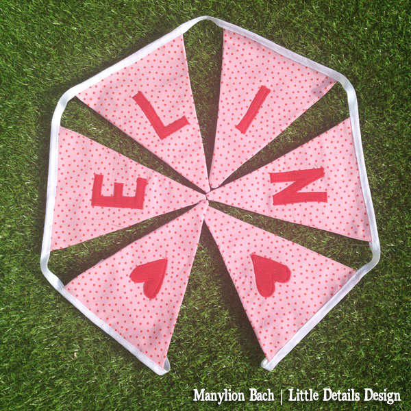 Pink and red spot bunting for Elin