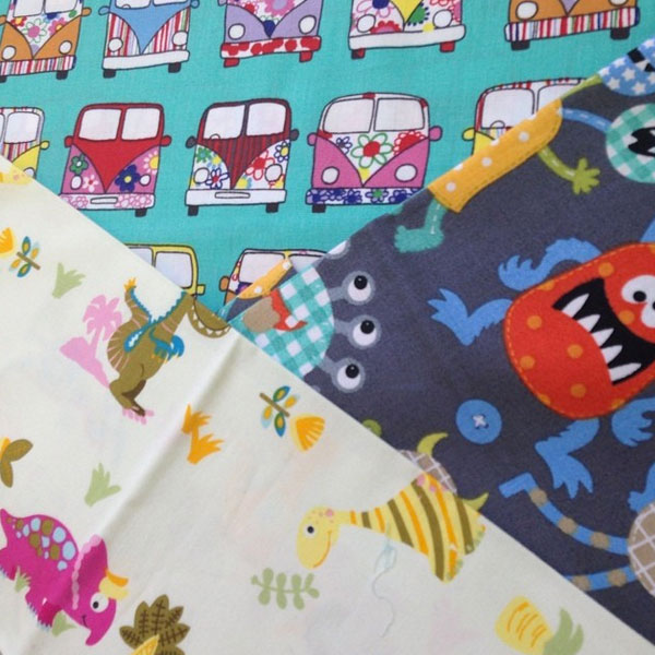 VW Campervan, Happy Monsters and Cheerful Dinosaur print fabric