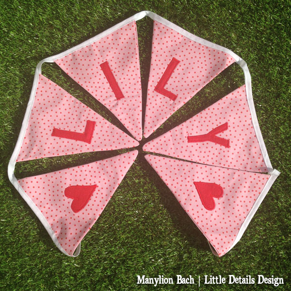 Pink and red spot bunting for Lily