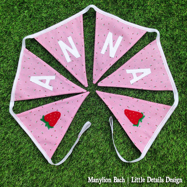 Strawberry & Pink Gingham Bunting for Anna