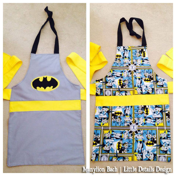 Reversible Batman Apron for 6 to 8 year old