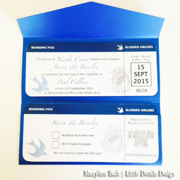 Bluebird Airlines Destination Wedding Invite - Invites and RSVP card as Boarding passes