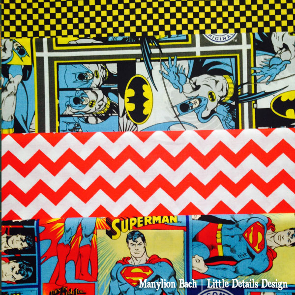 Batman and Superman  Comic Strip Fabric
