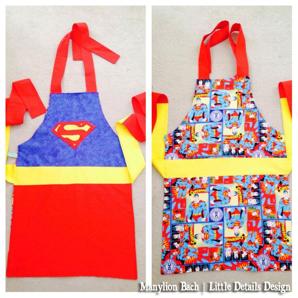 Reversible Superman Apron for 6 to 8 year old