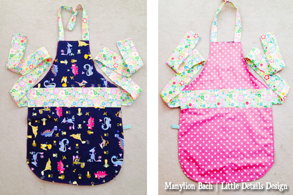 Reversible Dinosaur and Pink Spot Apron for 6 - 8 year old