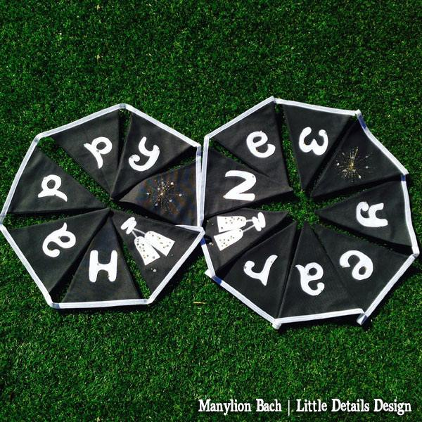 Black & white Happy New Year bunting