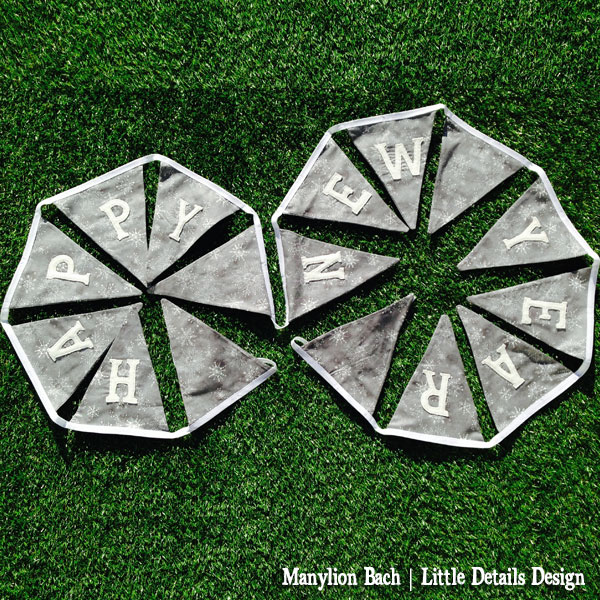 Happy New Year Bunting in grey and white Snowflake pattern with silver highlights